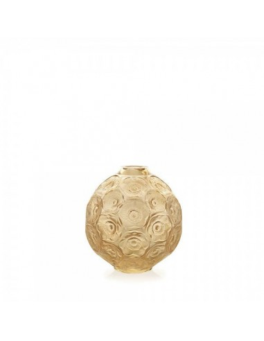 Vase for a single flower golden colour ANEMONES Crystal LALIQUE