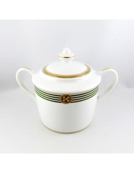 Sugar bowl with lid KENT GREEN BERNARDAUD