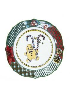 Dessert plate TARTAN CHRISTMAS BACI MILANO